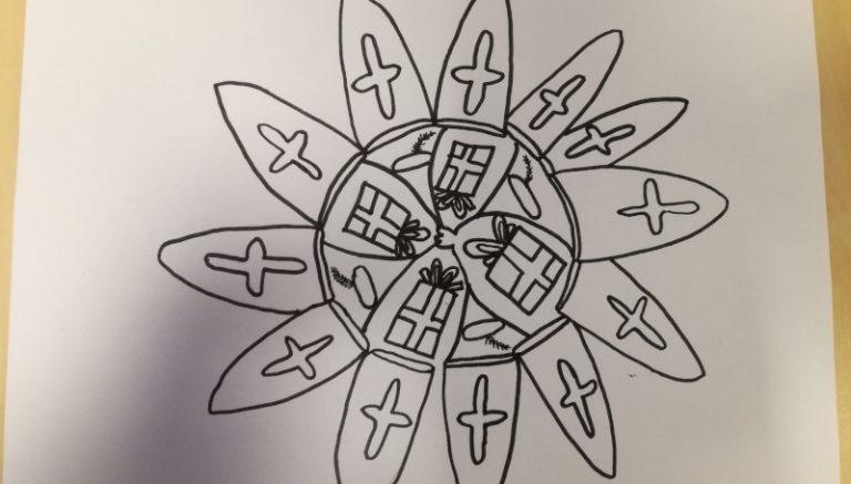 Zelf een mandala tekenen.