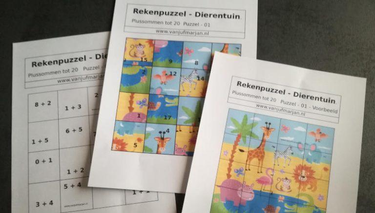 Rekenpuzzels – Jigsaw met sommen tot 20.