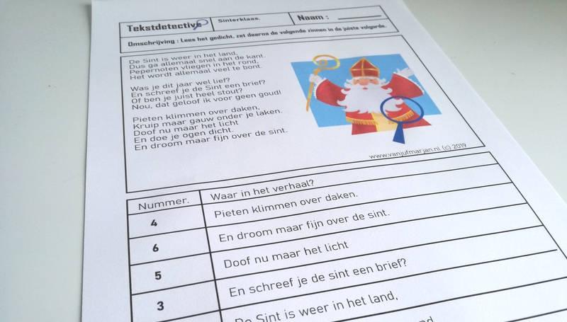 Tekstdetective Sinterklaas Vanjufmarjan
