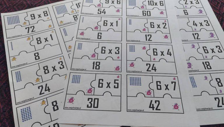 Combinatiepuzzels met tafels apart.